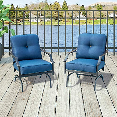 Top Space Patio Chairs Outdoor Rocking Chair Bistro Set Patio Conversation Set,Motion Metal Outdoor Furniture with 2 Outdoor Chairs