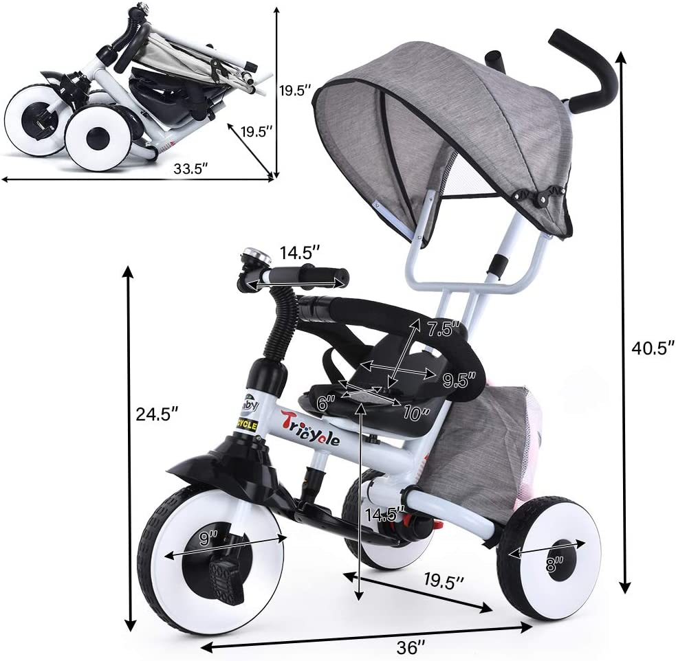 Storage Bag Folding Kids Tricycle Bike Folding Footrest Safety Harness YEALEO 4 in 1 Baby Trike Brake for 1 2 3 4 5 Years Toddler Pushchair Stroller with Adjustable Canopy