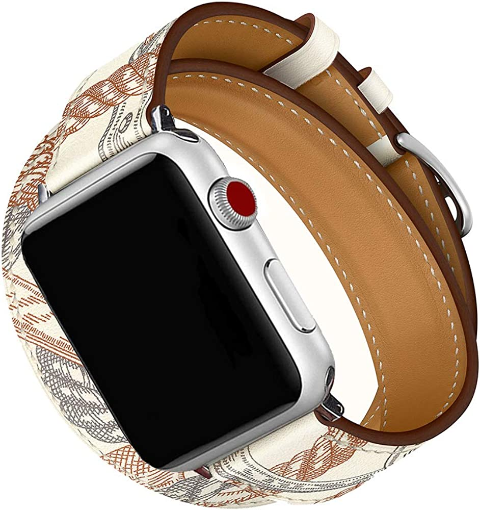 CAILIN Compatible with AppleiWatch Band for Series 1 Series 2 Series 3 Series 4 Series 5 Series 6/SE, Luxury Genuine Leather Smart Watch Band 38mm 40mm 42mm 44mm Strap(white, 38mm/40mm)