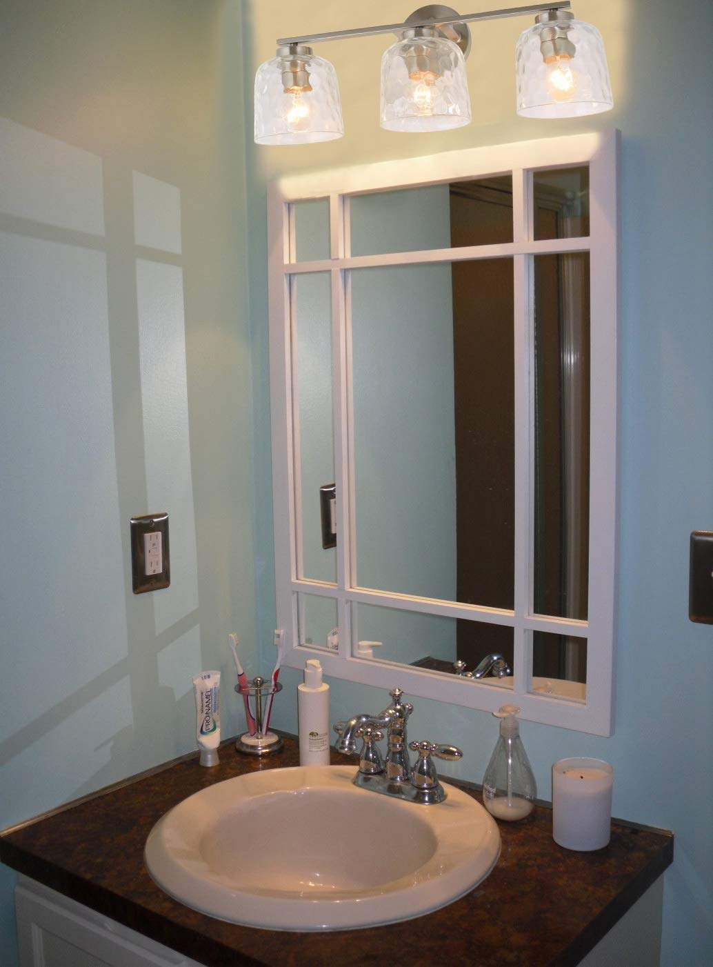 Alice House 20'' Vanity Lights with Hammered Glass, 3 Light Wall Lighting, Brushed Nickel Bathroom Lights Over Mirror, Bathroom Lighting AL6091-W3 by ALICE HOUSE (Image #4)