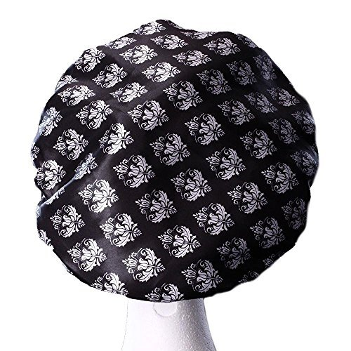 Extra Large Microfiber Shower Caps - Triple Layer Protection- Seal Out Moisture in the Shower - Prolong and Maintains Hairstyle and Blow Out - Damask XL Shower Caps