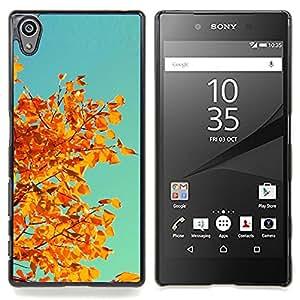 Eason Shop / Premium SLIM PC / Aliminium Casa Carcasa Funda Case Bandera Cover - Oto?o Naranja Amarillo Hojas rama de árbol - For Sony Xperia Z5 5.2 Inch (Not for Z5 Premium 5.5 Inch)