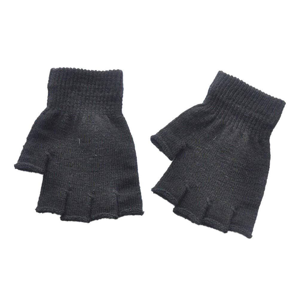 Lanhui Unisex Gloves,Fingerless Knitted Crochet Half-Fingers Warm Winter Adult Mitten (Medium, Black)
