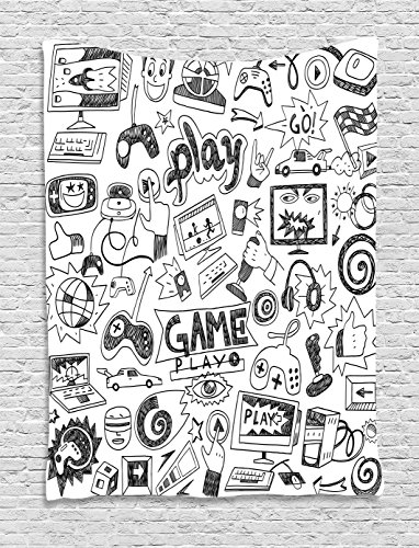Video Games Wall Hanging Tapestry by Ambesonne, Black and White Sketch Style Gaming Design Racing Monitor Device Gadget Teen 90's , Bedroom Living Room Dorm Decor, 60 W x 80 L Inches, Blak White