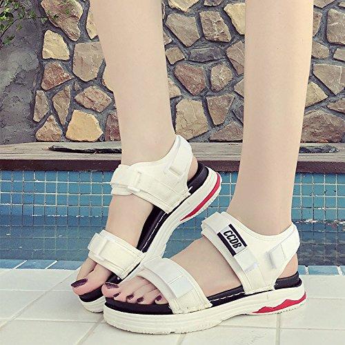 Student White Velcro Flat Sandals Sandals Toe Platform Sports Summer Comfortable Joker WHLShoes Open Women'S Casual 6qAxvv