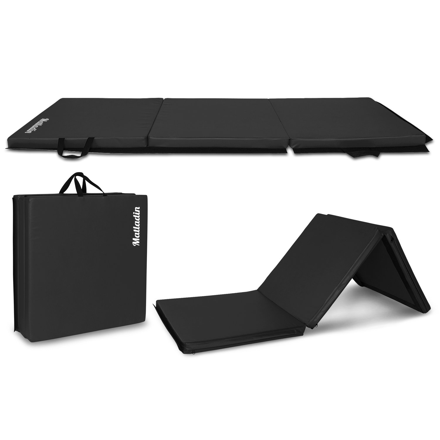 Matladin 6' Folding Tri-fold Gymnastics Gym Exercise Aerobics Mat, 6ft x 2ft x 2in PU Leather Tumbling Mats for Stretching Yoga Cheerleading Martial Arts (Black)