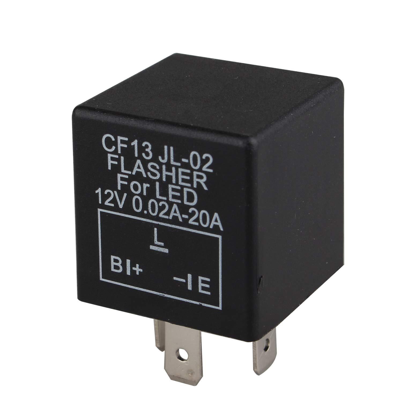 12 V per moto compatibile con auto CF13 JL-02 0.02A-20A a 3 pin Futheda con indicatore di direzione Rel/è lampeggiante elettronico a LED per lampeggiatore auto