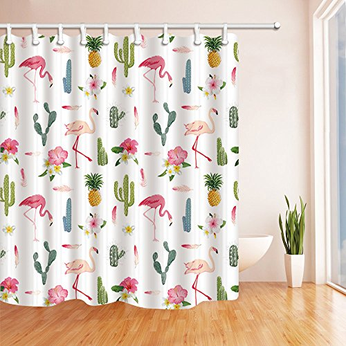 Nymb Tropical Flowers Decor  Flamingo Bird And Pineapple In Cactus Shower Curtain  Mildew Resistant Polyester Fabric Bathroom Decorations  Bath Curtains Hooks Included  69X70 Inches  Green  Multi1
