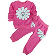 Jastore Kids Girl 2pcs Sunflower Clothing Sets Top and Pants Fall Clothes