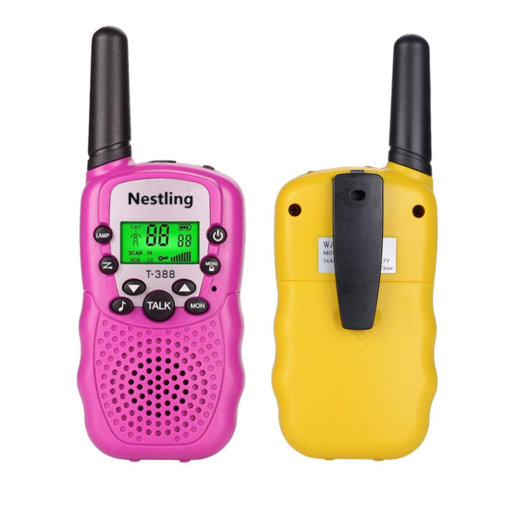Walkie Talkies, Toy Phone, Long Range Walkie Talkies for Kids 3 Mile Range 22 Channels 3 Pack Kids Two Way Radios Quality Toys Birthday Gift Camping Gear Games for Boys and Girls (Pink,Yellow,Blue) by Nestling (Image #3)