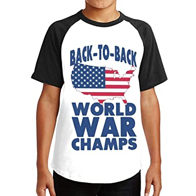 77de674a Back to Back World War Champs Short Sleeve T-Shirt Leisure Crew Neck Tee for