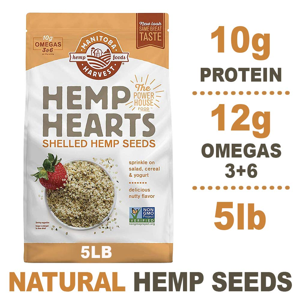 Manitoba Harvest Hemp Hearts Raw Shelled Hemp Seeds, 5lb; with 10g Protein & 12g Omegas per Serving, Non-GMO, Gluten Free by Manitoba Harvest