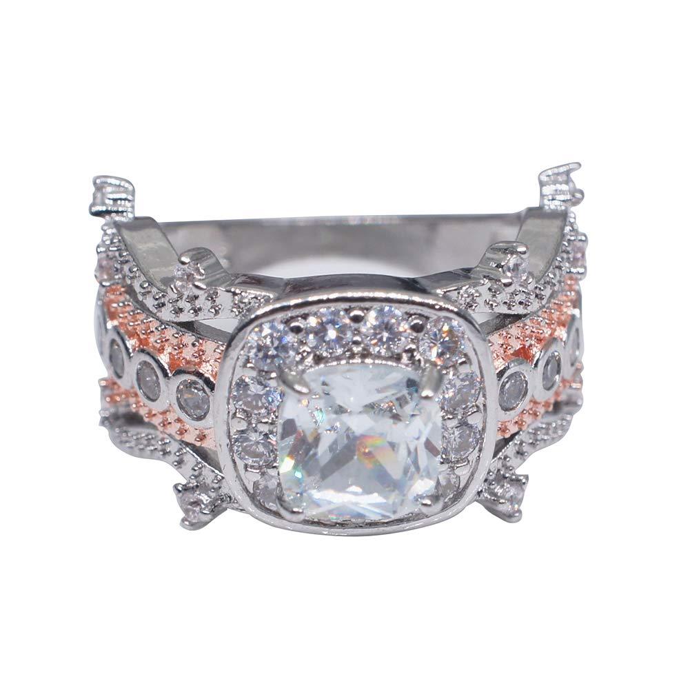 Slendima Square Cubic Zircon Elegant Wedding Ring,Women Engagement Party Charm Rhinestone Jewelry Silver US 8