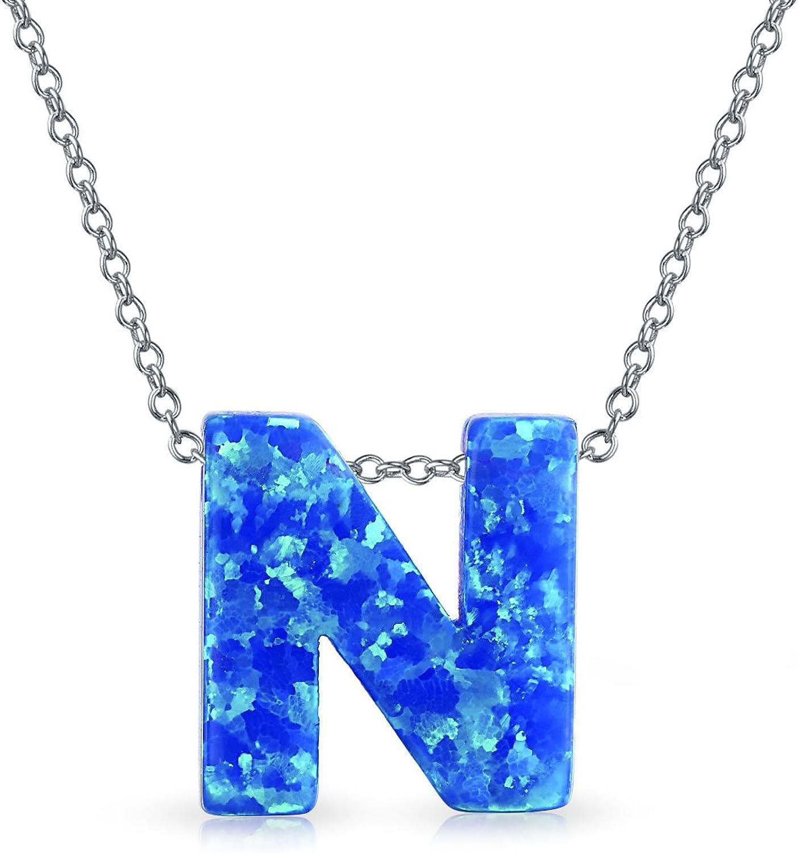 Creado Azul Opal Letra Mayúscula Del Inicial Colgante Collar Inicial Para Adolescentes Mujer Octubre Piedra Nacimiento