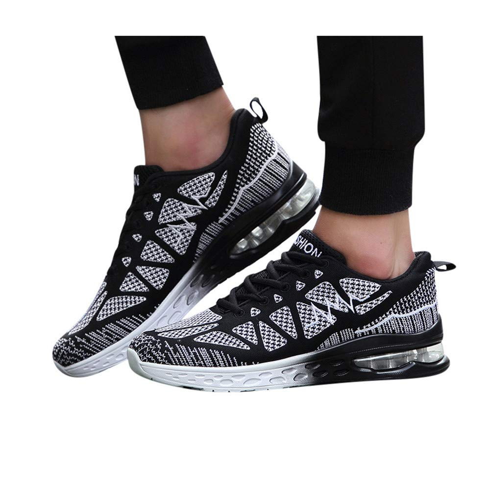 Mens Walking Sneakers Slip on Lightweight Mesh Breathable Running Shoes Outdoor Tennis Slip on Shoes (US:11.0, Black) by sweetnice shoes
