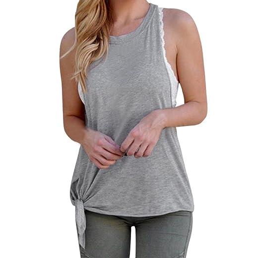 da92f4b7a5de02 Bravetoshop Women Summer Solid Bandage Side Sleeveless Blouse Sexy Tank Tops  (Gray, S)