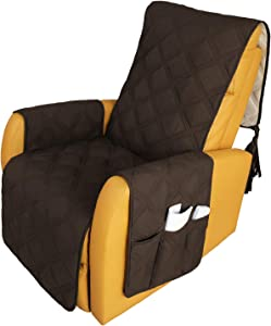 Recliner Chair Covers Waterproof with Anti-Skip Furniture Protector Sofa Slipcover for Children, Sofa Covers for Dogs (Chocolate, 30'')
