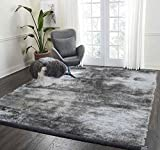 LA Rug Linens 8-Feet-by-10-Feet Pile Rug Fluffy Fuzzy Modern Home Store Kitchen Outdoor Indoor Bedroom Living Room Carpet Floor Shag Rug Gray Grey Silver (Aroma Silver) For Sale