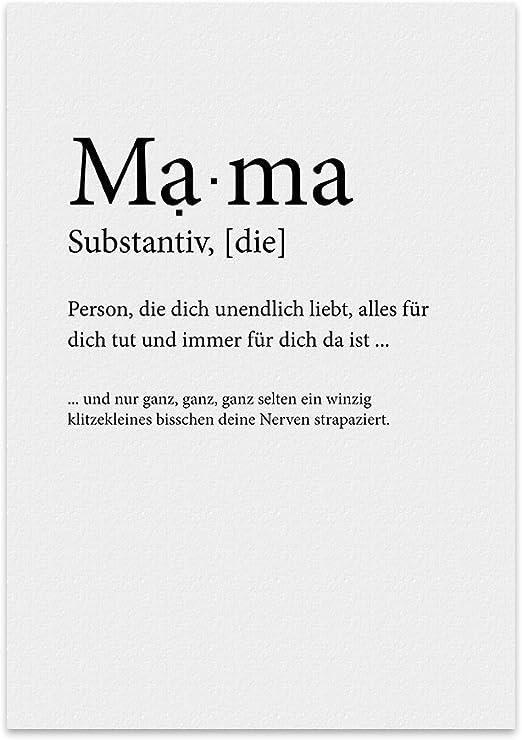 Typestoff Kunstdruck Poster Mit Spruch Mama Und Liebe Wand Bild Plakat Mit Zitat Als Geschenk Und Dekoration