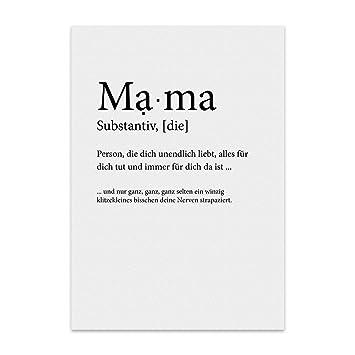 Typestoff Kunstdruck Poster Mit Spruch Mama Und Liebe Wand Bild