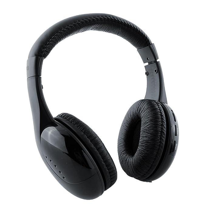Cewaal ® Auriculares Inalámbricos 5-en-1 w / Micrófono Emisor y FM Radio - Escucha la Música, Chat en Línea y Monitor Otras Habitaciones!