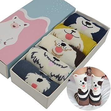 LILIKI@ 5 Par/Set De Dibujos Animados Lindo Perro Mujeres Calcetines De Algodón Kawaii
