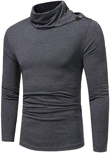 Camisa De Cuello Alto De Manga Larga para Hombre Cuello Ropa De Cuello Alto Cuello Alto De Manga Larga Camiseta Entallada De Color Liso: Amazon.es: Ropa y accesorios