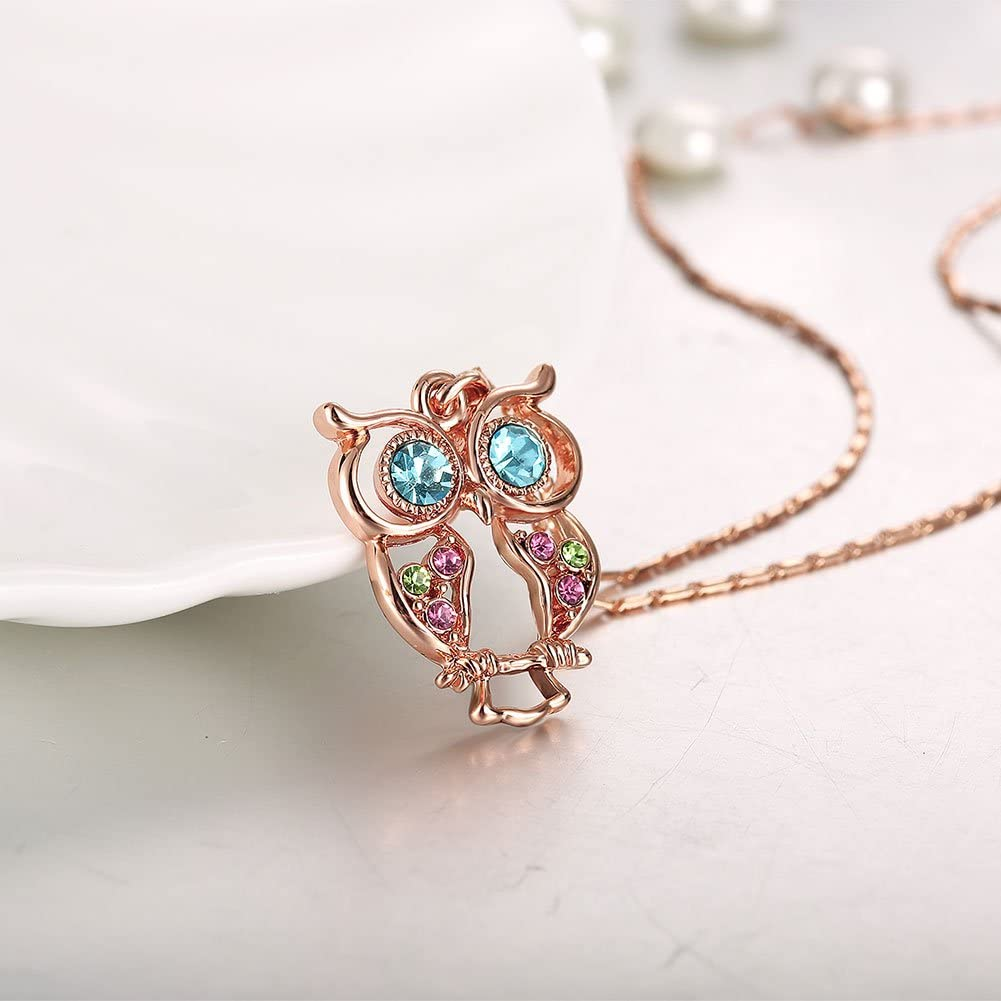 J/ösva Womens Jewellery Set Rosegold Owl Necklace and Earrings with Multi Coloured Cubic Zirconia Stud Earrings and Pendant mit 45+5cm Chain Colorful Fashion Jewellery Gift for Mother Wife Girlfriend