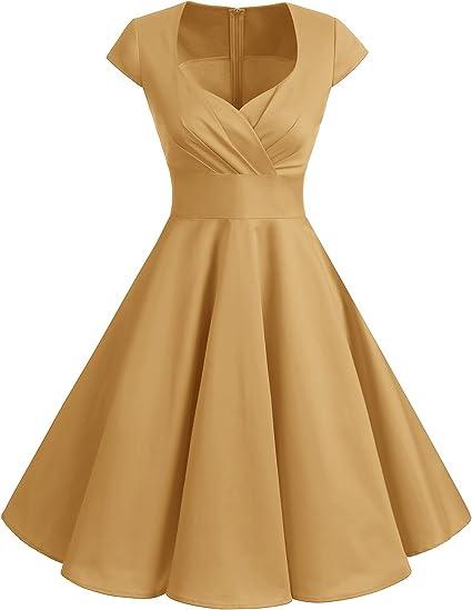 TALLA XS. Bbonlinedress Vestido Corto Mujer Retro Años 50 Vintage Escote En Pico Ginger XS