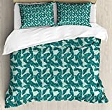 Ambesonne Hawaii Queen Size Duvet Cover Set by, Abstract Palm Leaves Pattern Exotic Caribbean Environment Simple Foliage, Decorative 3 Piece Bedding Set with 2 Pillow Shams, Almond Green and Teal