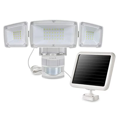 Solar Lights Outdoor, Motion Sensor Security Light, 1500LM 5000K, IP65 Waterproof, 3 Adjustable Lamp Heads with Wide Angle Illumination, Ideal for Backyards, Patios, Garages, Entryways