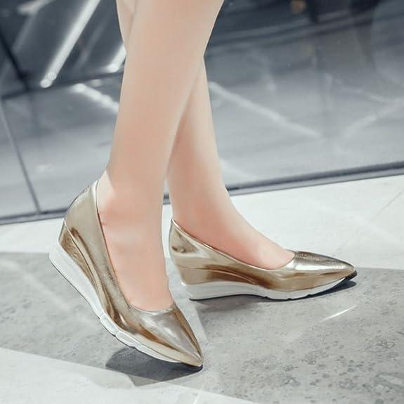 COOLCEPT Zapatos Mujer Moda Light Weight Going Easy Casual Mid Tacon de Cuna Sin Cordones Bombas Zapatos (34 EU , Pink)