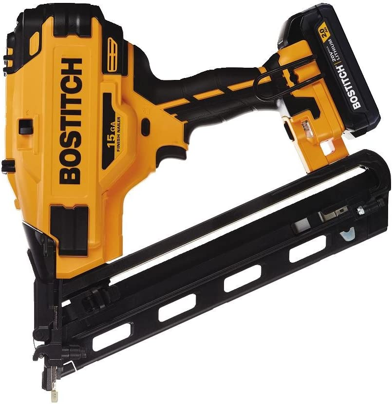 BOSTITCH BCN650D1 20V MAX 15 Gauge Fn Angled Cordless Finish Nailer Includes Battery and Charger