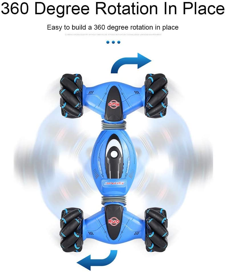 Blue Stunt Rc Car 2.4G 4WD Gesture Sensing Remote Control Car Twisting Climbing Off-Road Vehicle Light Music Drift Traverse Christmas Toy Cars for 3 4 5 6 7 8-12 Year Old Boys