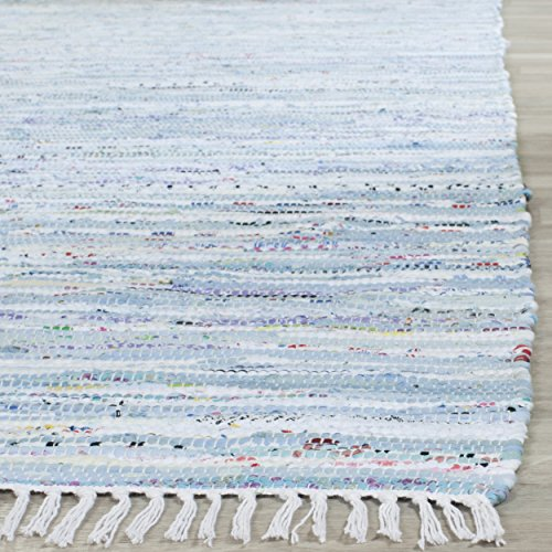 Safavieh Rag Rug Collection RAR125A Hand Woven Light Blue and Multi Cotton Area Rug (3' x 5')