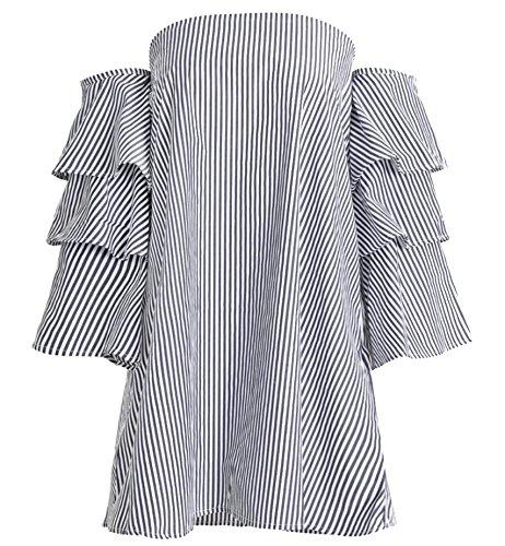 2 Stripe Dress Temperament Sexy Jaycargogo Flare Women Backless Tube Sleeve zp7w5Txq