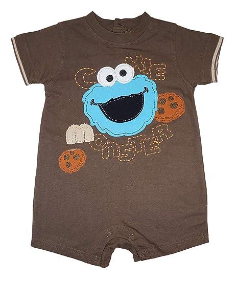 e11f8af66aa9 Amazon.com  Sesame Street Baby Boys  Infant Cookie Monster Shortall ...