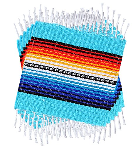 Colorful Fringed Mexican Serape Place Mats And Coasters