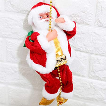 YlRNhe Muñeca de Papá Noel eléctrica Escalera Escalera Juguete de Peluche para decoración de la Pared de la Puerta de la casa de la Fiesta de Navidad, 01, as Shown: Amazon.es: Hogar