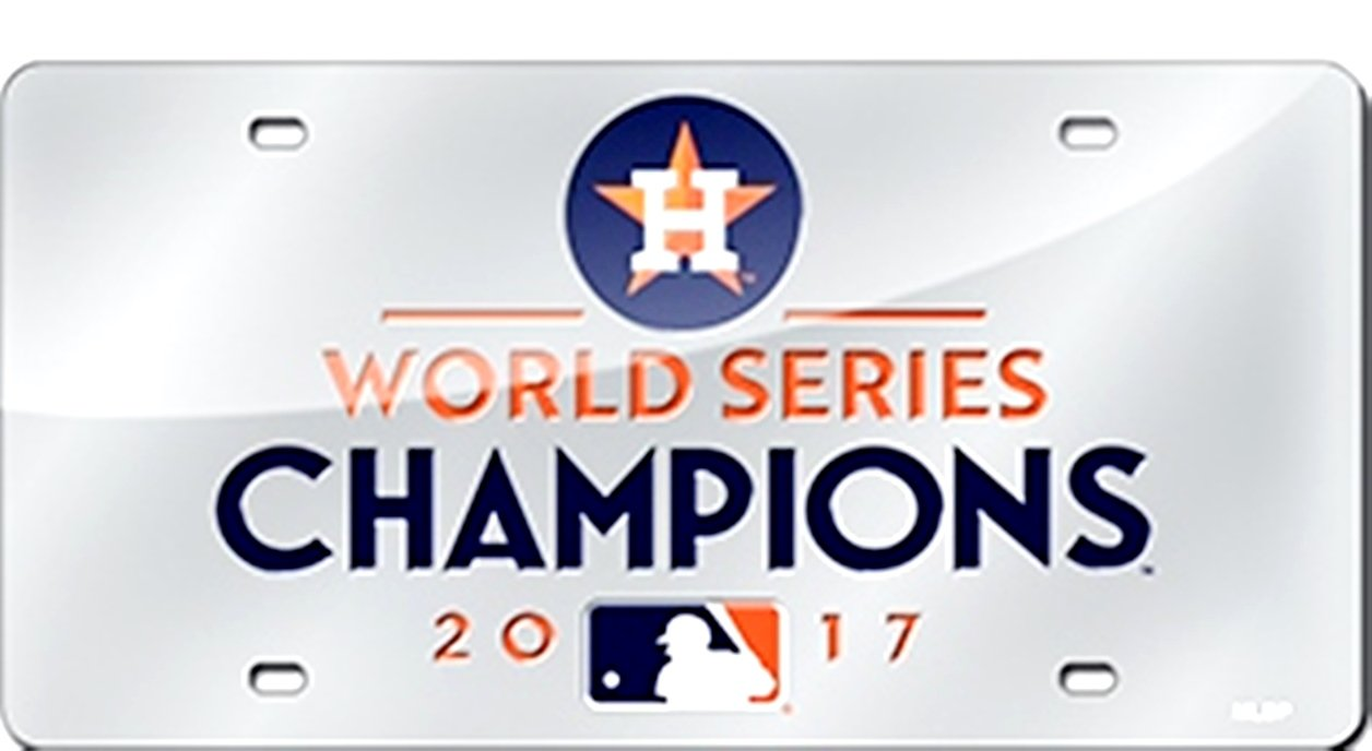 Rico Industries Houston Astros 2017 Champions Laser Tag SLV Premium Laser License Plate Baseball
