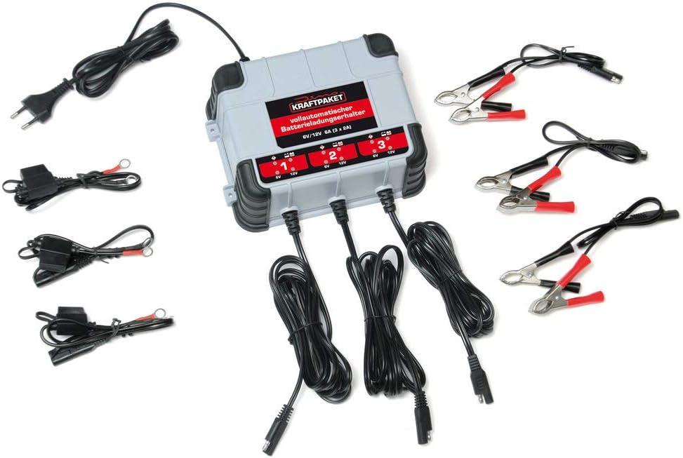Dino Kraftpaket 136316 Erhaltungsladegerät 3x2a 6v 12v Ip65 Batterieladegerät Mit Drei Outputs Für Kfz Auto Motorrad Quad Atv Boot Grau Auto