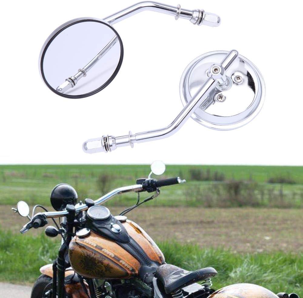 M8 8mm Cl/ásico Retrovisor moto Espejos retrovisores redondos de motocicleta para XL883 1200 48 Forty Eight Fatboy Softtail Dyna Street Glide