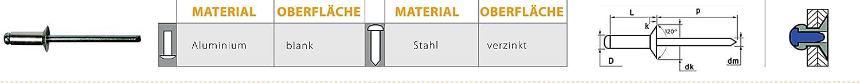 4,0 X 18,0 mm 1000 St/ück Alu Stahl Senkkopf Blindnieten Dichtnieten Nieten