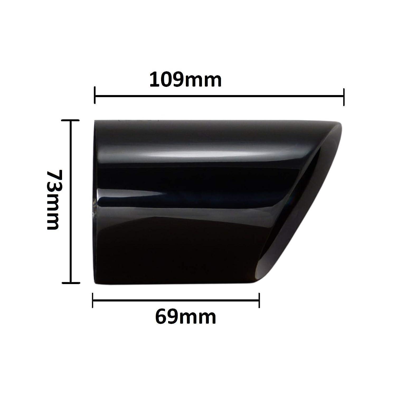 L/&P A301 Auspuffblende Schwarz Edelstahl poliert Chrom Plug/&Play Endrohrblenden Endrohrblende Schwarzchrom Auspuff Blende Endrohre