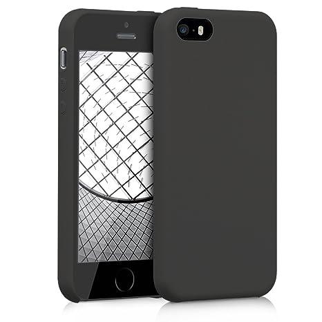 kwmobile Funda para Apple iPhone SE / 5 / 5S - Carcasa de [TPU] para teléfono móvil - Cover [Trasero] en [Negro Mate]