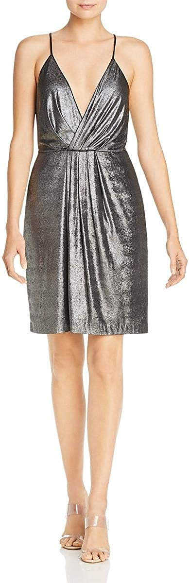Laundry by Shelli Segal Womens Metallic Pleated Faux Wrap Cocktail Dress