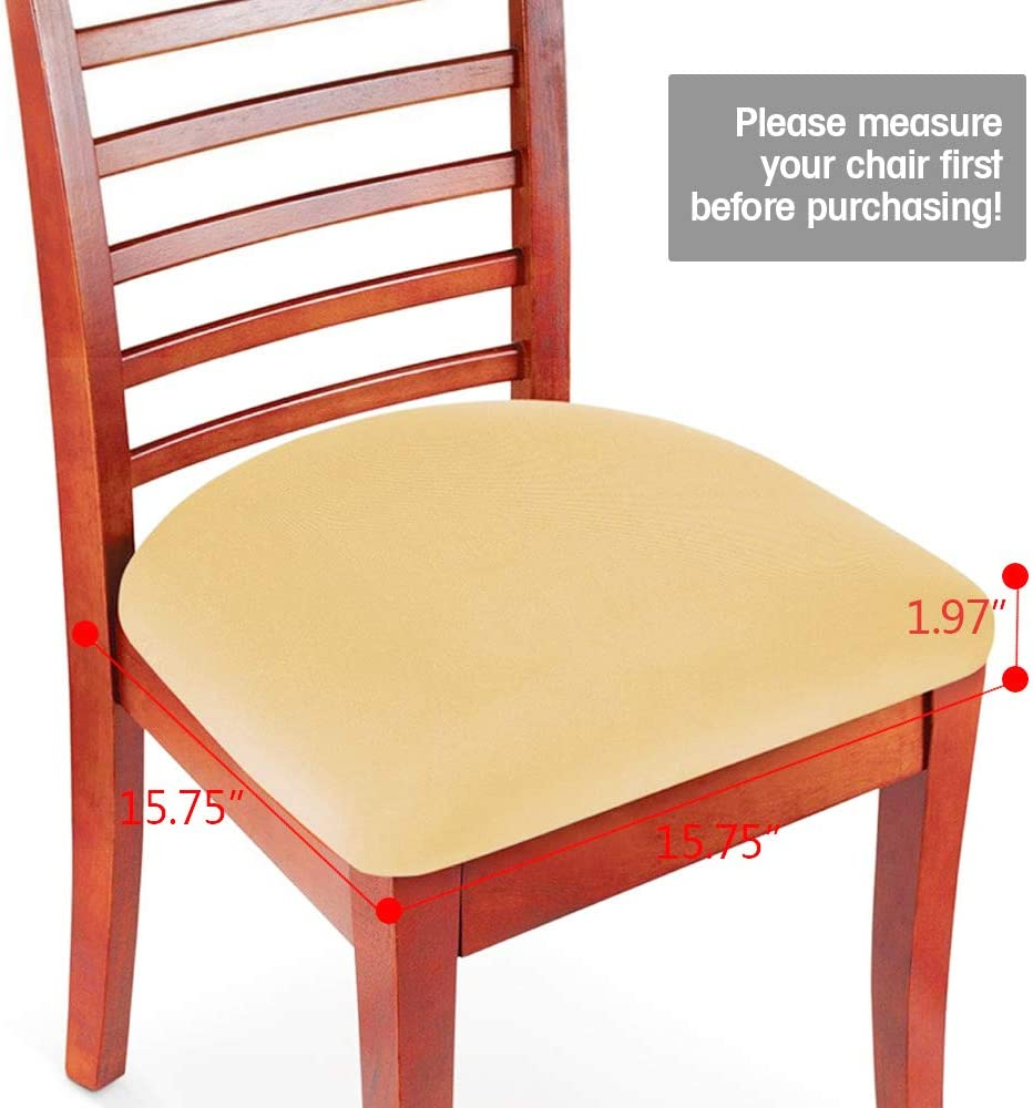 Amazon Com Boshen 2pcs Elastic Spandex Chair Stretch Seat Covers Protector For Dining Room Kitchen Chairs Stretchable Beige 2 Kitchen Dining