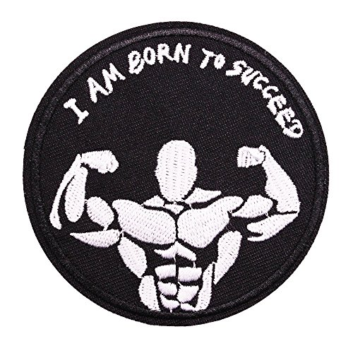 U-Sky Iron on Patches I am Born to Succeed Slogan, Clothing Decorative Patch for Fitness Club, Sports Enthusist, Jackets, Backpacks, Hats, 2.9 Inch, 2 Different Design Pack
