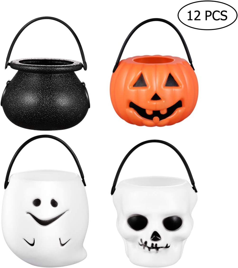 Cabilock Mini Halloween Candy Holder Multi-Purposed Novelty Balck Plastic Halloween Witches Cauldron Kettle Skull Pumpkin Ghost Candy Bucket Holder Decor for Halloween Party (12 Pack)
