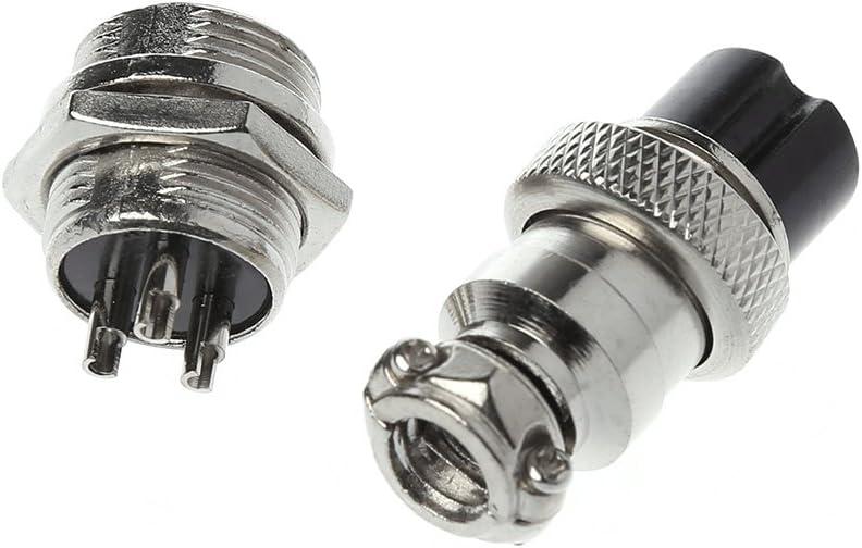 JOYKK Connecteur m/étallique de connecteur m/âle et Femelle pour connecteur Aviation 16 mm 8 Broches GX16 Argent